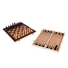 3 in 1 backgammon Holz Internationalen Schach Set Bord Reise Spiele Schach Backgammon Zugluft Unterhaltung