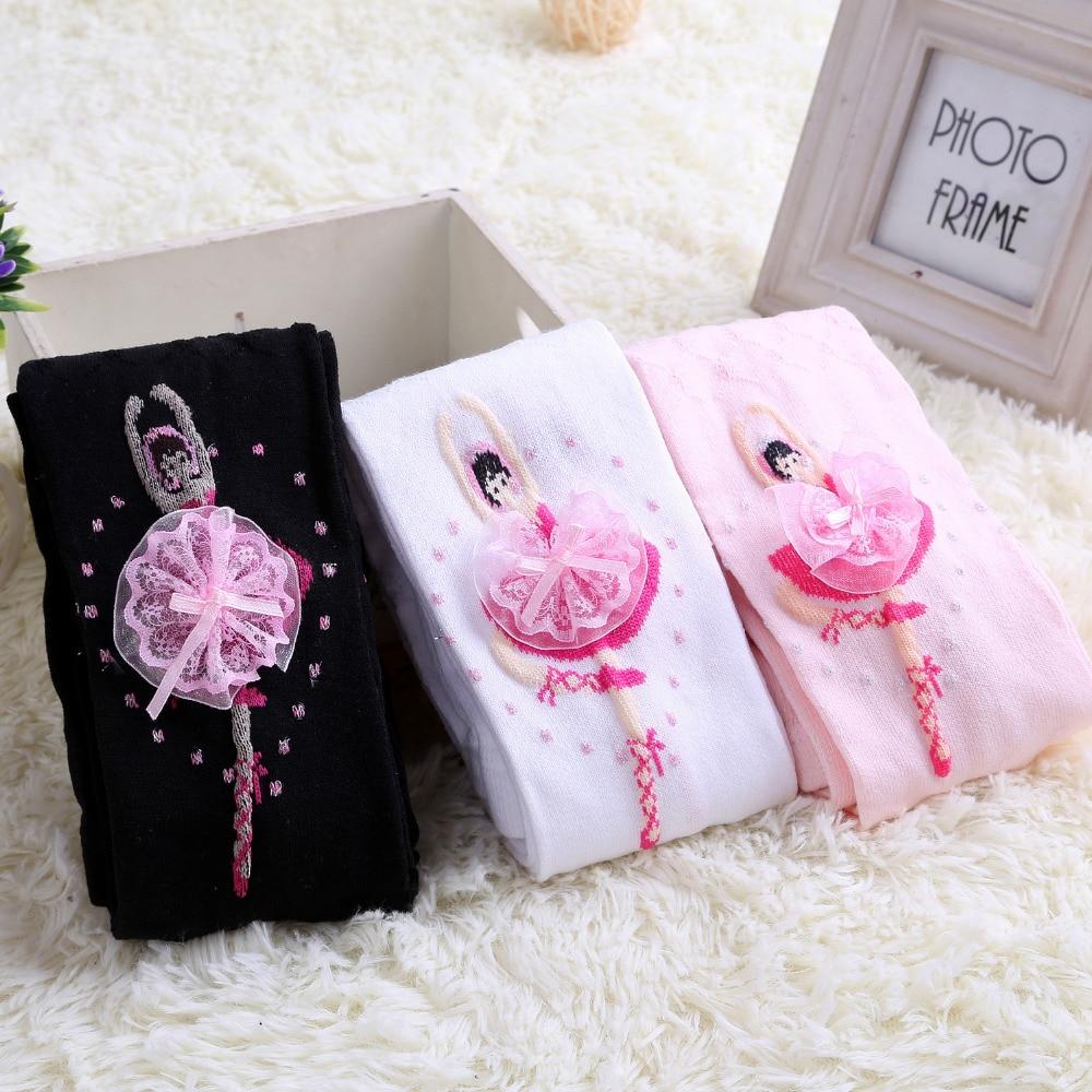 Kids Ballet Pantyhose 4-12Y Baby Dancer Cute Cartoon Designs Girls Tights Children Velvet Magic Stockings Christmas White Pink