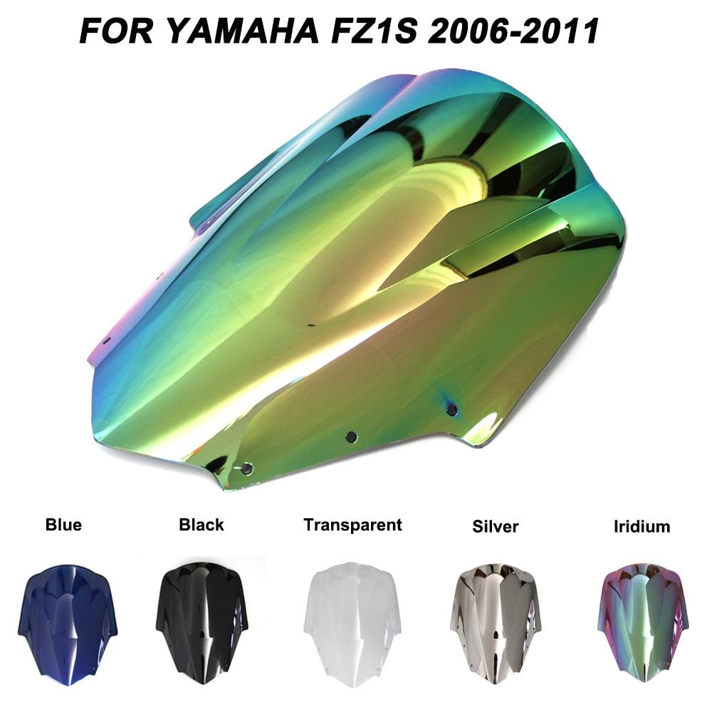 Abs pára-brisas para yamaha fz1 fzs1000 fazer 2006-2011 bolha dupla motocicleta pára-brisa irídio defletores de vento