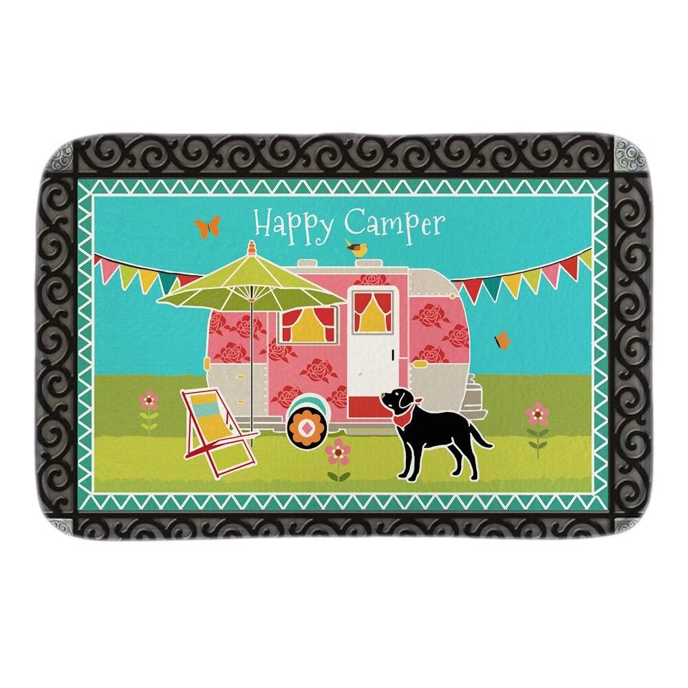 Animals Doormats Decor With Happy Camper Doormat Garden Dog Indoor Outdoor Mats Soft Lighteness Short Plush Fabric Bathroom Mats