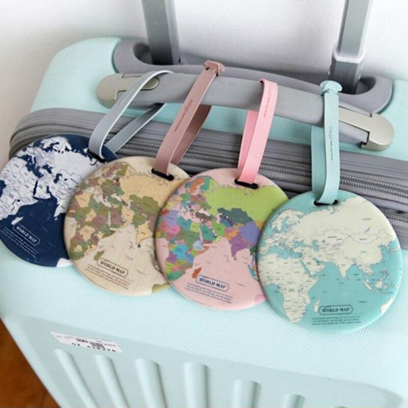 Etiqueta de equipaje de mapa de moda para mujer, accesorios de viaje, Maleta de Gel de sílice, soporte de dirección de identificación, etiqueta de embarque, bolsa de etiqueta portátil