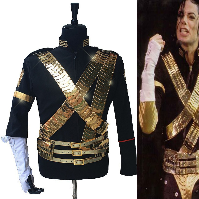 Rare MJ Michael Jackson Classic JAM Jacket & Metal Full Set Bullet Punk Exactly Same High Collection Halloween Costume Show Gift