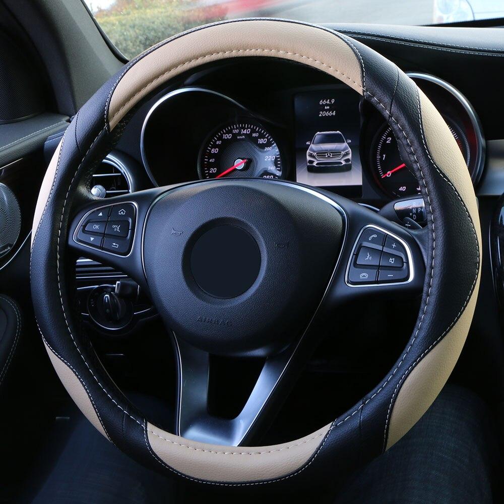 O shi carro universal volante capa esportes estilo artificial trança de couro antiderrapante auto volante caso protetor