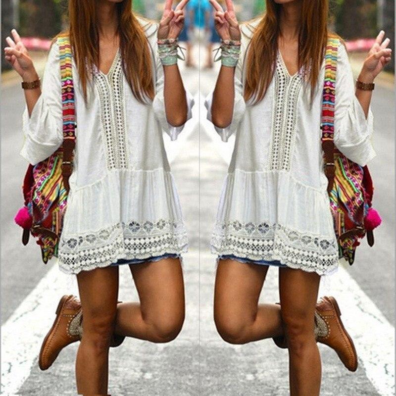 2017 bohemian style kobiety lato white dress sexy dorywczo v szyi 3/4 flare rękaw koronki szydełko loose mini sukienki plażowe vestidos 4