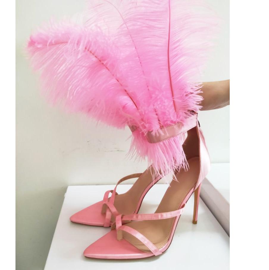 2019 último diseño de verano Sandalias de tacón alto puntiagudas para fiesta de plumas zapatos de mujer tobillo hebilla sandalias de gladiador