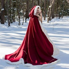 Little Red Riding Hood Cosplay Faux Fur Cloak Long Bridal Wraps Jacket Winter Warm Coats Capes Christmas Wraps Cloaks Party Coat