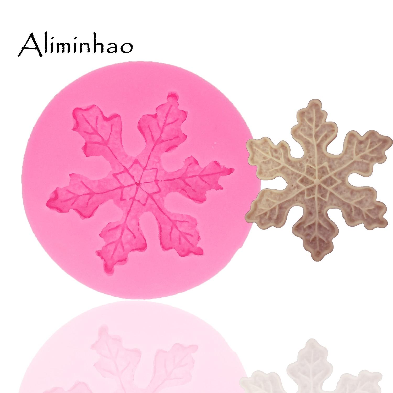 Molde de silicona con forma de hoja de copo de nieve B1384, molde de Fondant, herramientas de decoración de pasteles, resina de arcilla polimérica, caramelo súper esculpido