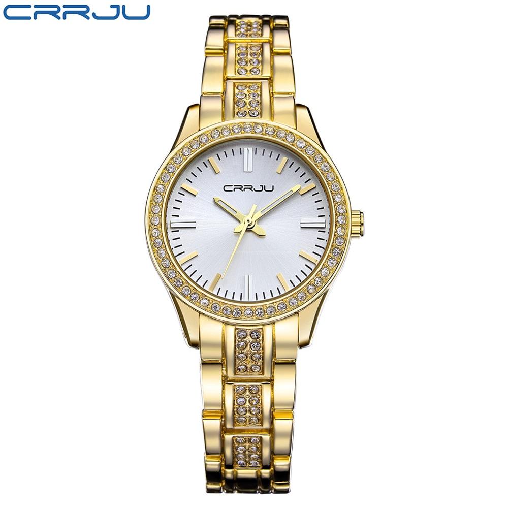CRRJU, reloj de cuarzo de la mejor marca, relojes de pulsera con diamantes de imitación, reloj impermeable para mujer, relojes de lujo para mujer, relojes femeninos para