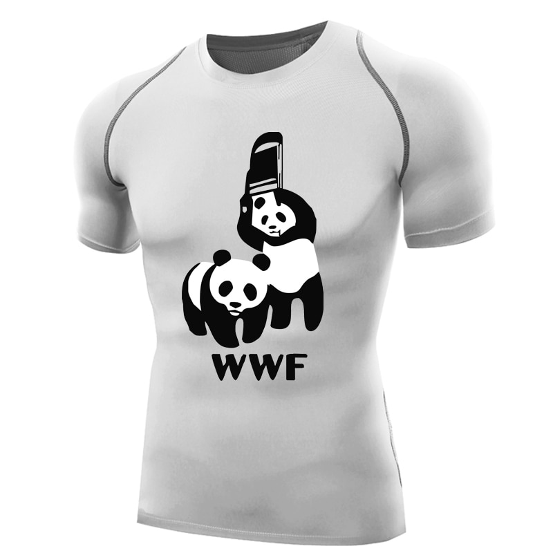 Wwf рубашка для занятий борьба для мужчин компрессионная рубашка короткий рукав wwf панда футболка Бодибилдинг топы базовый слой wwf футболка стул funy