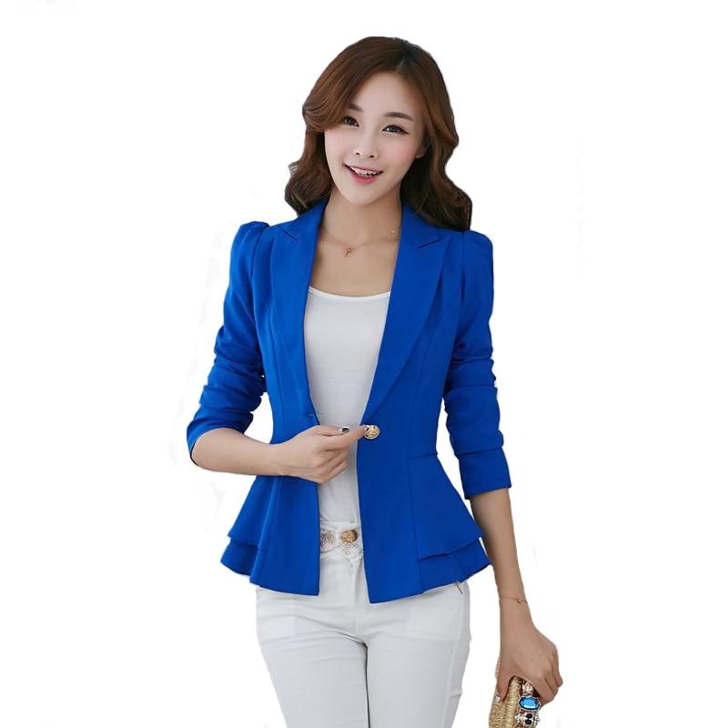Moda novedosa Chaqueta de traje de manga larga para mujer, chaqueta de calle corta ceñida con volantes de Color caramelo, chaquetas de trabajo para mujer