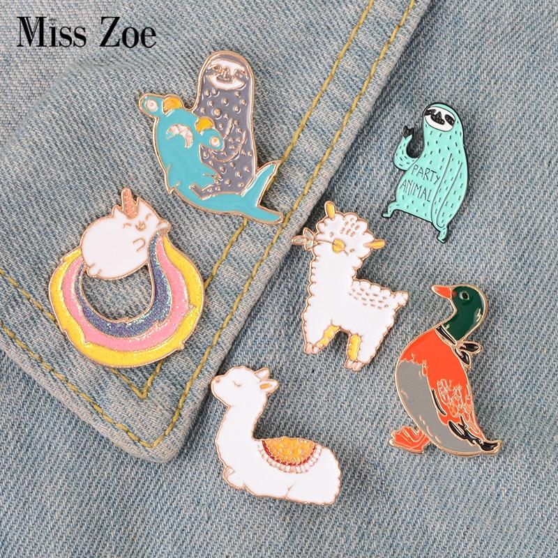Cute funny animals enamel pin Llama duck sloth sheep badge brooch Lapel pin Denim Jeans shirt bag Ca