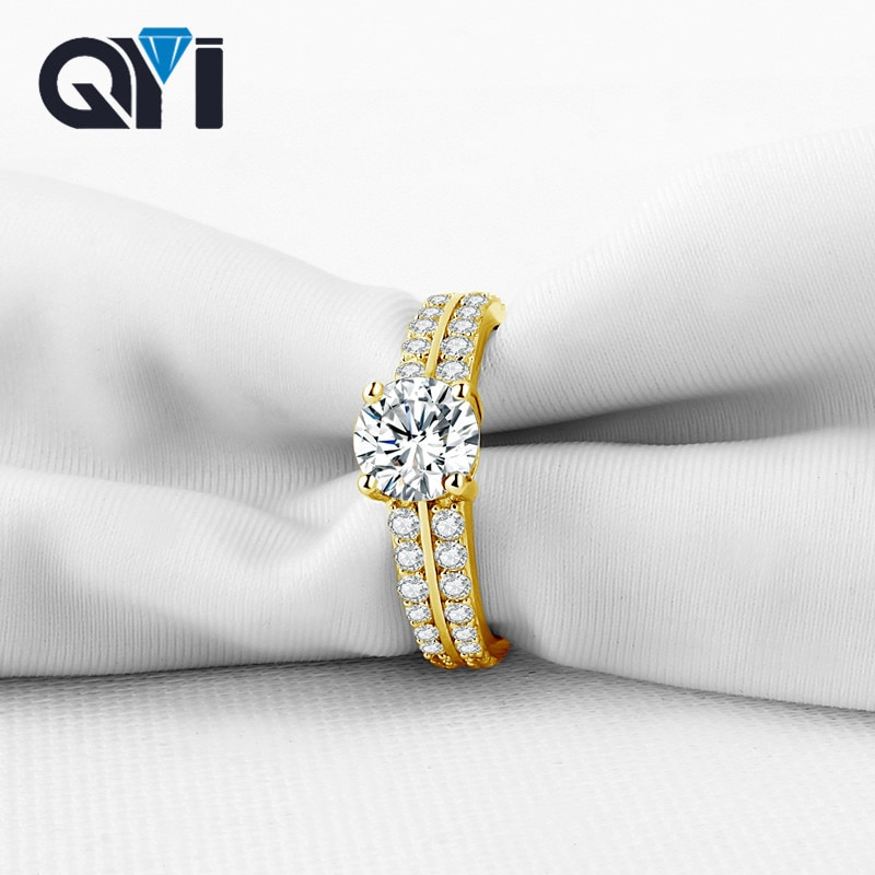 QYI 1ct redondo Sona diamante simulado solitario anillo de compromiso joyería nupcial para mujeres sólido 14K anillos de oro amarillo