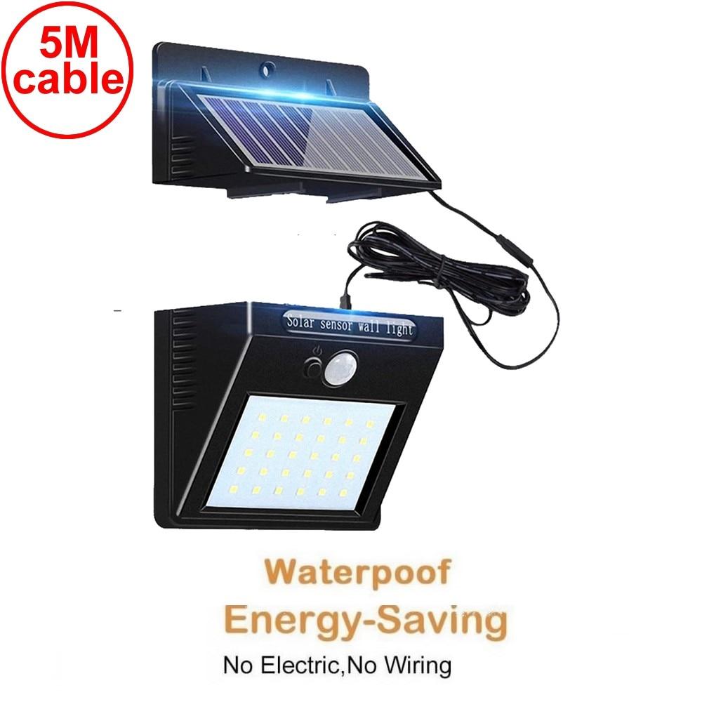 30 led 500lm solar light split mount pIR motion sensor street wall indoor lamp for garden yard garage patio 3M cable waterproof
