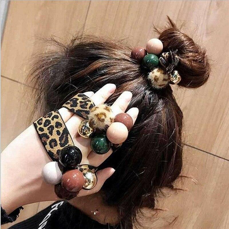 Neue Frauen Mädchen Leopard Print Haar Band Perle Krawatten Ziemlich Hohe Elastische Seil Ring Haarband Pferdeschwanz-halter Stirnband Haar Zubehör
