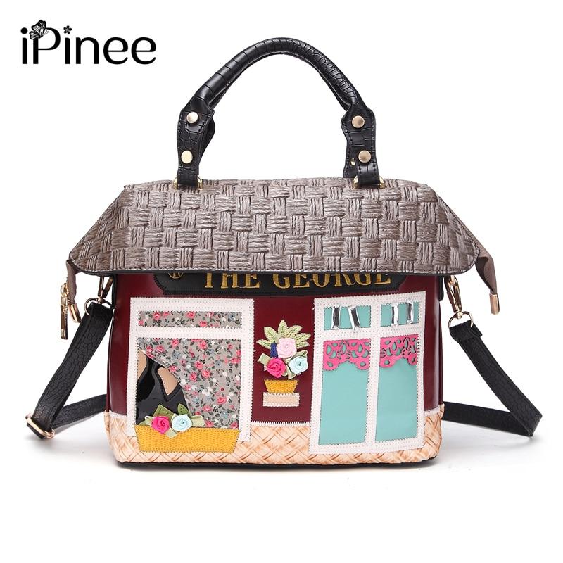 IPinee جديد وصول موضة الإناث منزل تصميم حقائب اليد الشاطئ حقيبة كروسبودي الكرتون حقائب للنساء