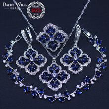 New Fashion Women Love Gift Dark Blue Cubic Zirconia Pendant/Necklace/Earrings/Rings/Bracelets silver color Jewelry Set