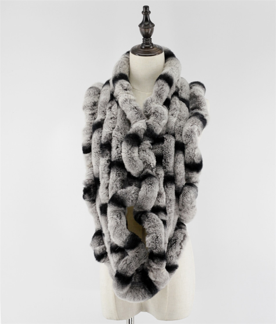 On sale genuine rex rabbit fur circle long scarfs scarves snoods neck warmer very soft&warm Free Shipping