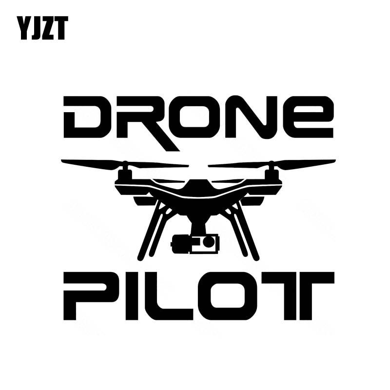"""YJZT 14,6 CM * 11,9 CM pegatina de coche """"DRONE PILOT"""" UAV Drone vinilo pegatina negro/plata C3-0189"""