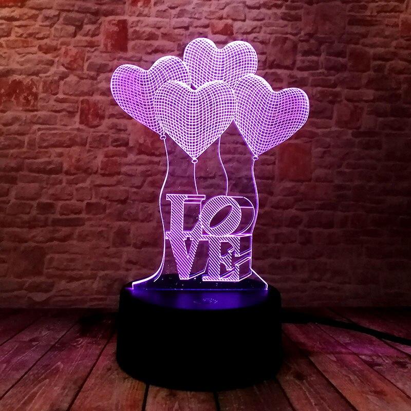 Carta de amor luminosa modelo 3D ilusión Led lámpara colorida luz nocturna Flash iluminación fácil amor figura en vivo juguete amante regalo de vacaciones