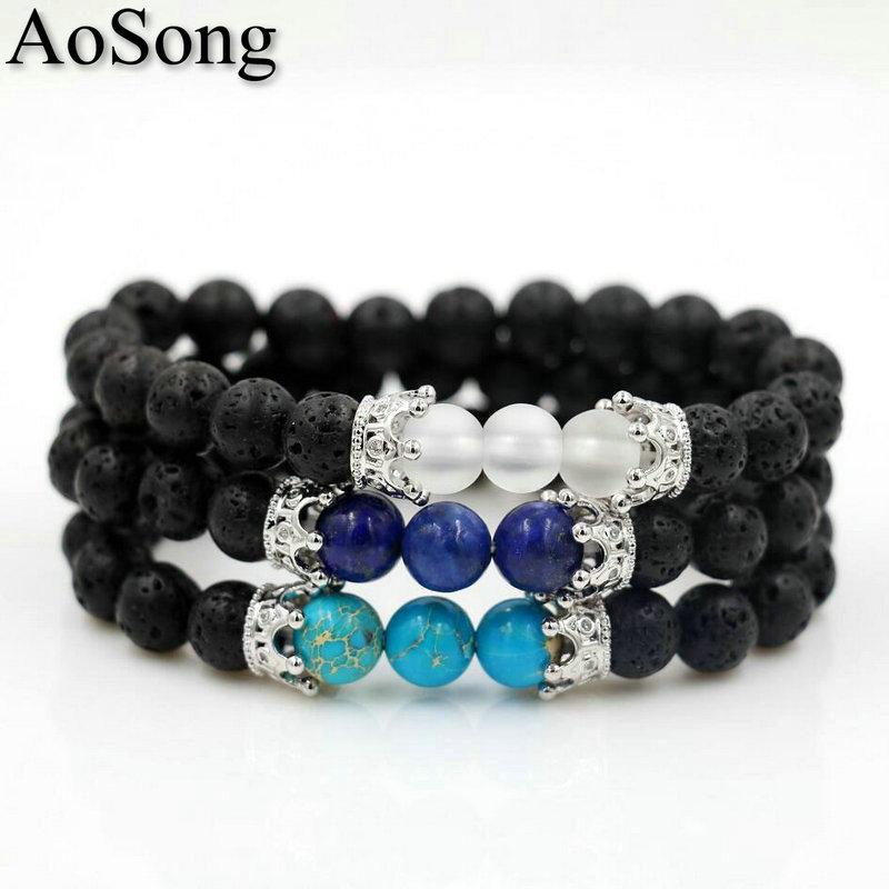 BPPCCR Lava stone 8mm Micro Imperial Crown Regalite lapis lazuli Crystal Stone Men Yoga Bracelets masculino chakra Bracelet