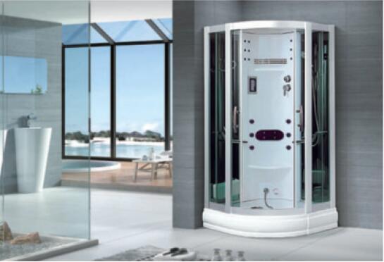 800X800X2150mm Sector-Shaped Bathroom Steam Shower Enclosure Computer Control Wet Sauna Room 7061A