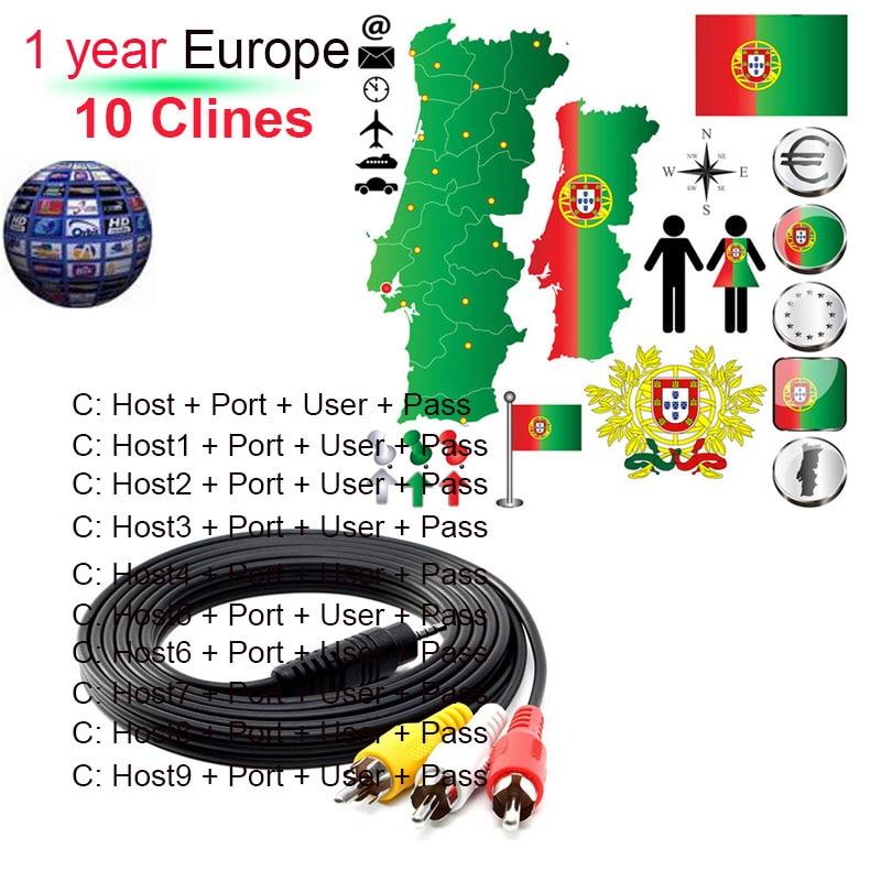 Cable de TV Cccam de 7 líneas para receptor de televisión por satélite DVB-S2 soporte europeo para 1 año a través de Dongle Wifi de alta calidad estable