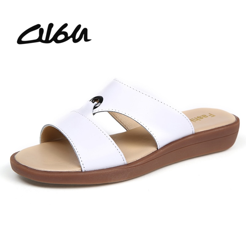 O16U Luxury brand Avant Art women flats sandals Shoes leather solid slip on rubber female Leisure slipper summer ladies slides