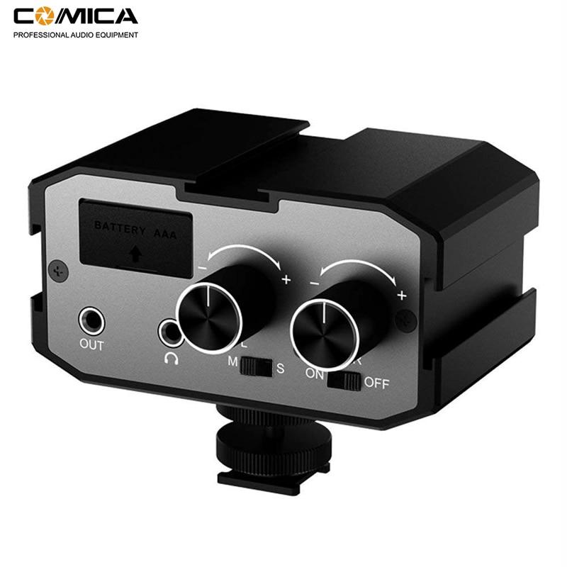 Comica ax1 universal microfone adaptador de áudio mixer pré-amplificador com estéreo & dupla mono entradas para câmeras canon nikon