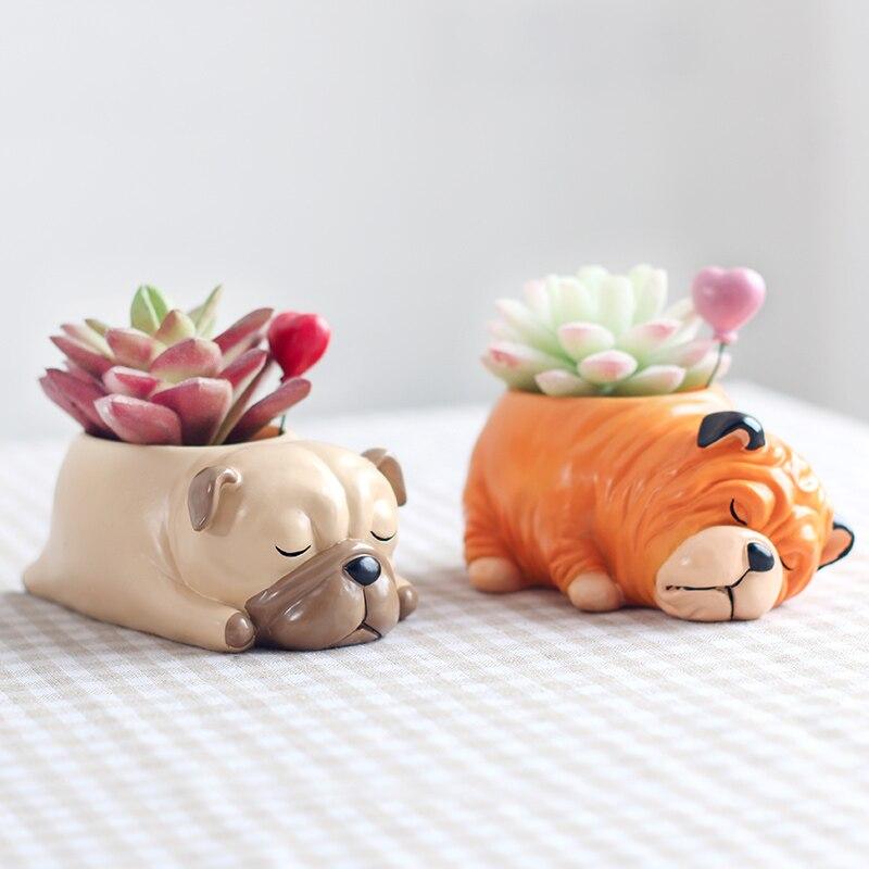 1 pieza, venta al por mayor, perro de Cactus macetas de dibujos animados suculento animal Pot escritorio planta flor Bonsai pot pequeño cactus maceta