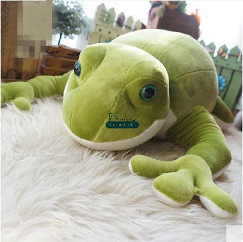 Dorimytrader Nuevo Lovely Soft 70cm Big Animal Rana Plush Toy 28  Cartoon Anime Relleno de ranas verdes Doll Pillow bebé regalo DY60266