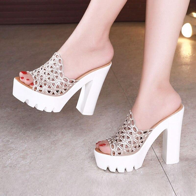 Zapatillas de tacón de bloque de talla grande 32-43 con plataforma recortada, zapatos de boda para mujer, zapatos de verano 2019 con tacón alto, zapatillas doradas para mujer