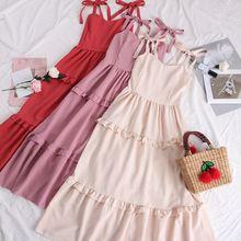 SINGRAIN Women Cotton Linen Strap Long Dress Summer Tiered Cami Ruched Sundress Casual Bohemian Sleeveless Solid Ruffle Dress