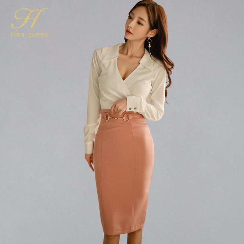 H Han Queen 2019 Spring OL 2 Pieces Suits Women Solid White Shirt Top + High Waist Sheath Bodycon Pencil Skirt New Work Wear Set