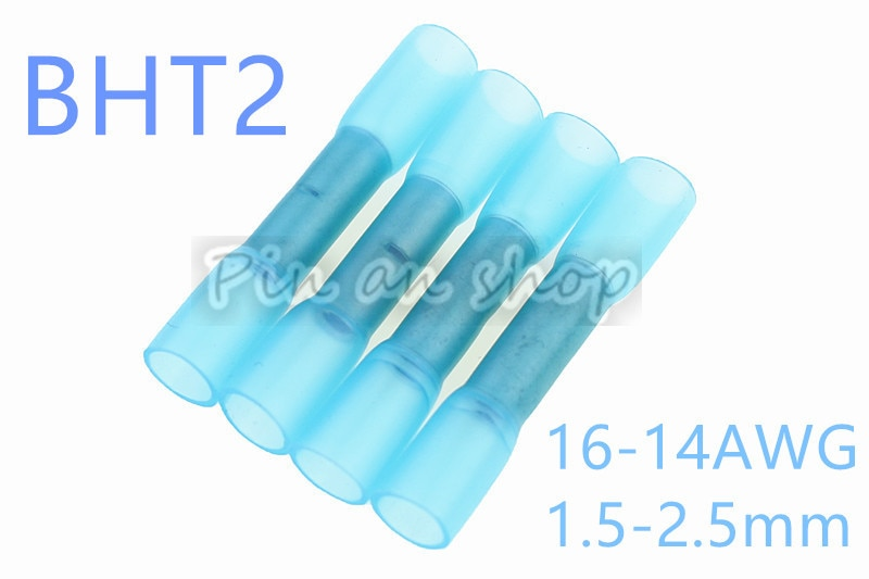 Pcs azul BHT2 50 Termoencolhíveis Butt Conector Splice Bunda Psiquiatra Do Calor Do Tubo Conjunto e Conectores À Prova D Água, 16-14AWG 1.5-2.5mm
