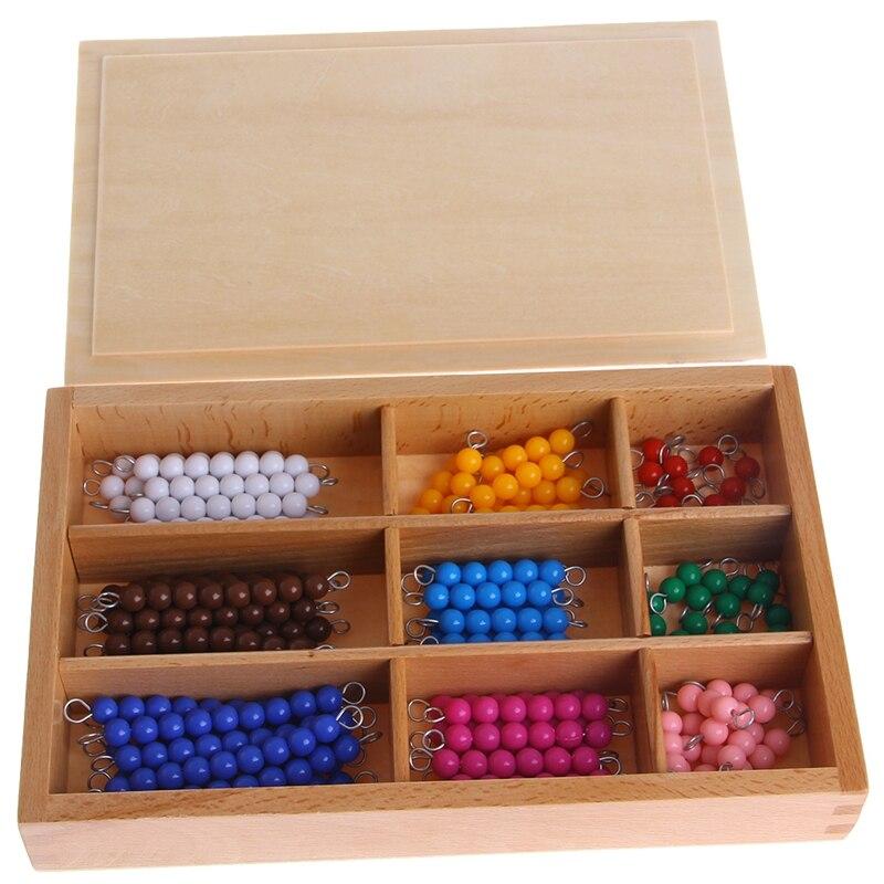 Montessori Mathematics Material 1-9 Beads Bar in Wooden Box Early Preschool Toy 95AE