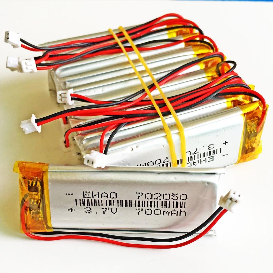 10 шт. 3,7 в 700 мАч 702050 литий-полимерная LiPo аккумуляторная батарея JST 1,25 мм 2 pin для Mp3 наушников PAD DVD bluetooth Камера