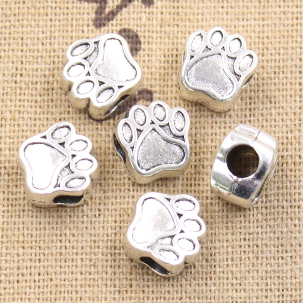 10pcs 11x7x11mm Dog Bear Paw 5mm Big Hole Antique Silver Color Beads Charms Fits Diy Bracelet Jewelry