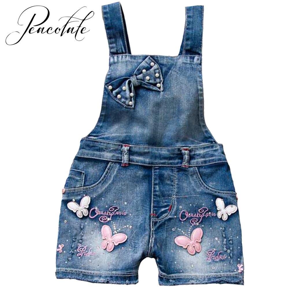 Летние детские комбинезоны для маленьких девочек шорты джинсы хлопковые на
