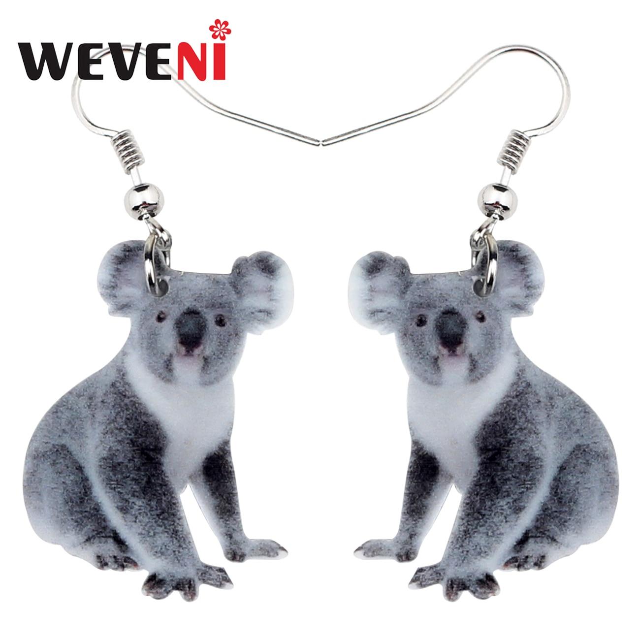 WEVENI acrílico australiano Koala oso pendientes gota colgante Animal novedad joyería para mujeres niñas regalo encantos accesorios Bijoux