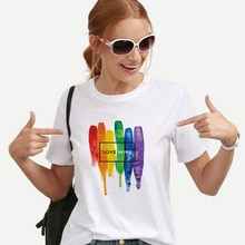 Rainbow Love Wins Female T-shirts Love Is Love Women Lesbian Rainbow Top T-shirt Tee Kawaii Femme Tumblr Graphic Shirts Clothes