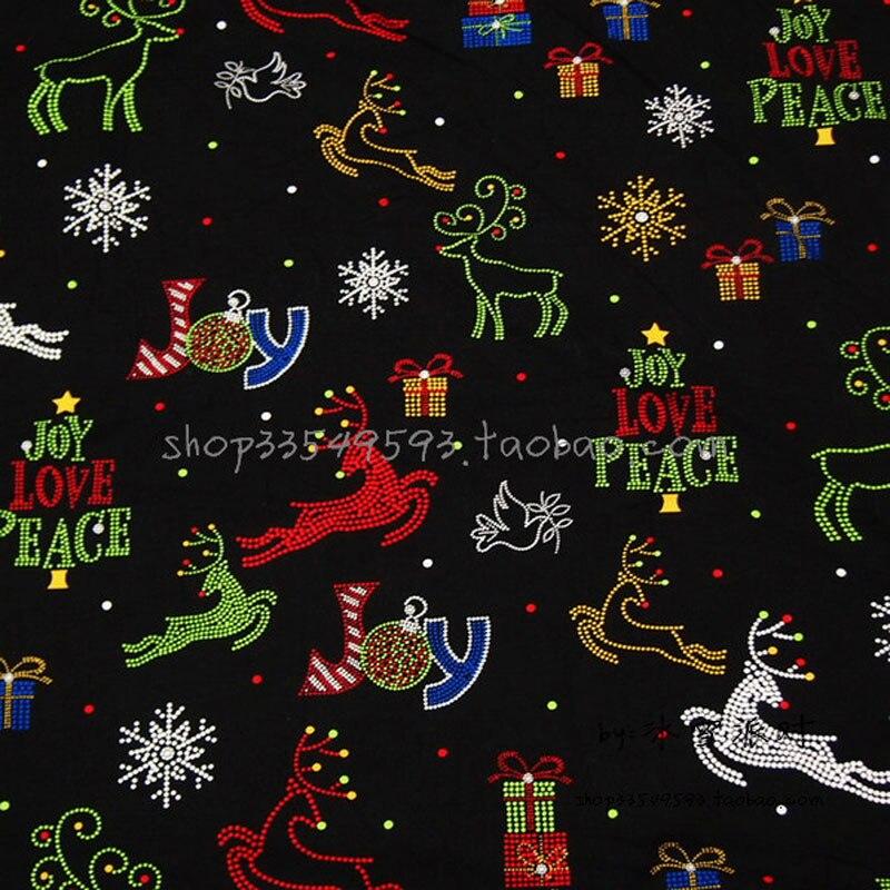 Largura 140 cm tecido 100% Tecido de Algodão Do Floco De Neve de Natal Árvore de Natal Elk Impresso Material De Costura Tecido Diy Roupas Vestido