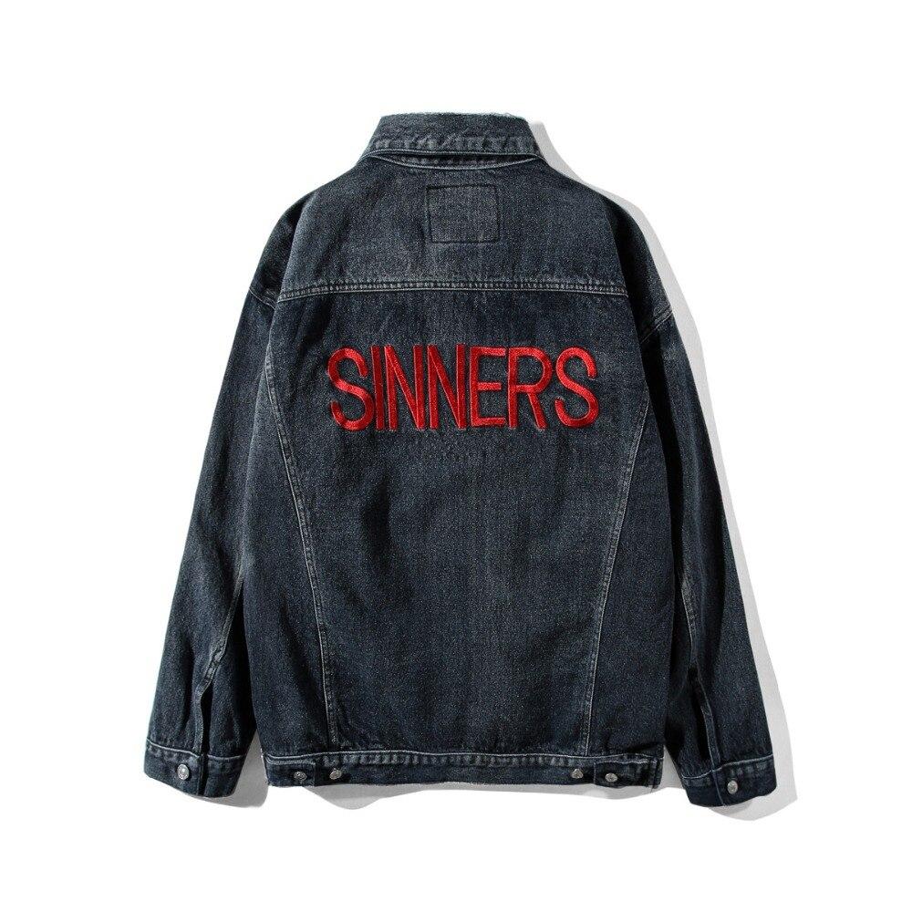Pecadores bordados destruídos magro denim jaqueta masculina feminino 11 alta qualidade cowboy masculino jean jaqueta chaqueta hombre