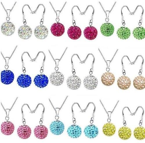 10 juego/lote 10mm mezcla multicolor blanco Bola de discoteca de cristal juego enchapado en plata gota tachuelas pendientes collar cadenas e6462