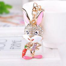 Moda karikatür yaramaz rhinestone tavşan anahtar zincirleri sevimli tavşan araba anahtarlık Charm metal anahtarlık çanta kolye