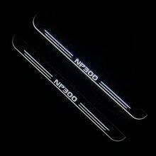RQXR led hareketli kapı itişme Nissan np300 dinamik kapı eşik plaka düz astar kaplama akış/hala ışık, 2 adet