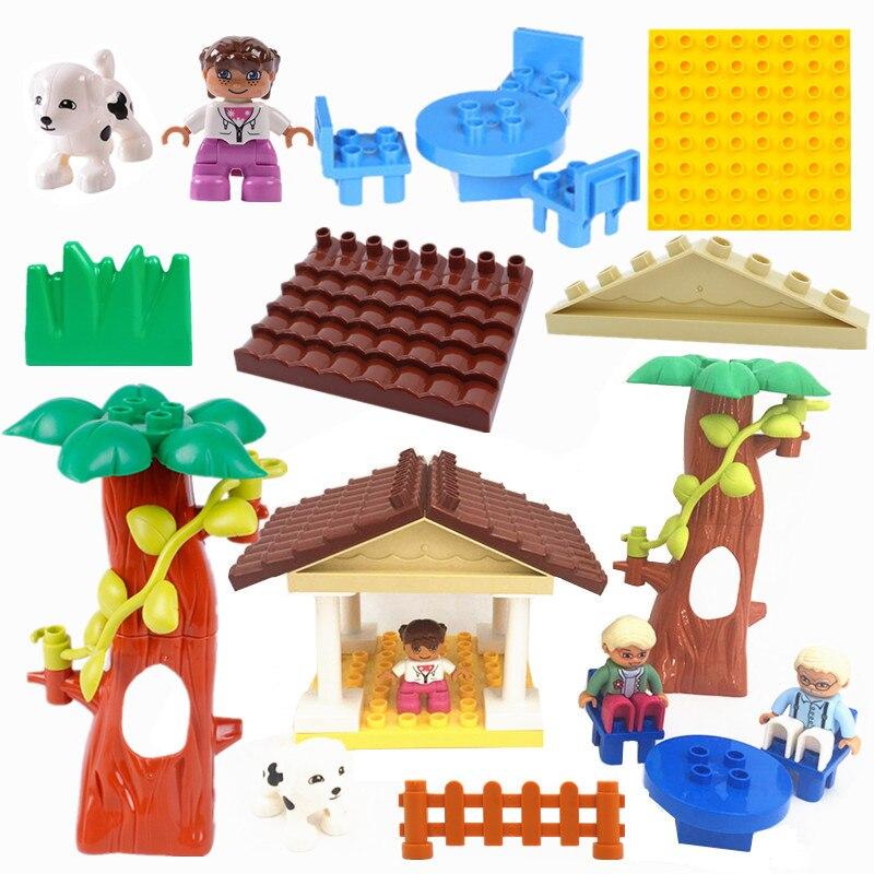 Venta única Diy feliz casa accesorios bloques tamaño grande juego ladrillos compatibles con Duploed Parts niños regalo juguete para niños