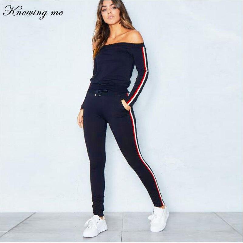 Conjunto Sexy de dos piezas de ropa deportiva con hombros descubiertos, chándales informales para mujer, traje de retales con tiras laterales para primavera y otoño, chándal para mujer