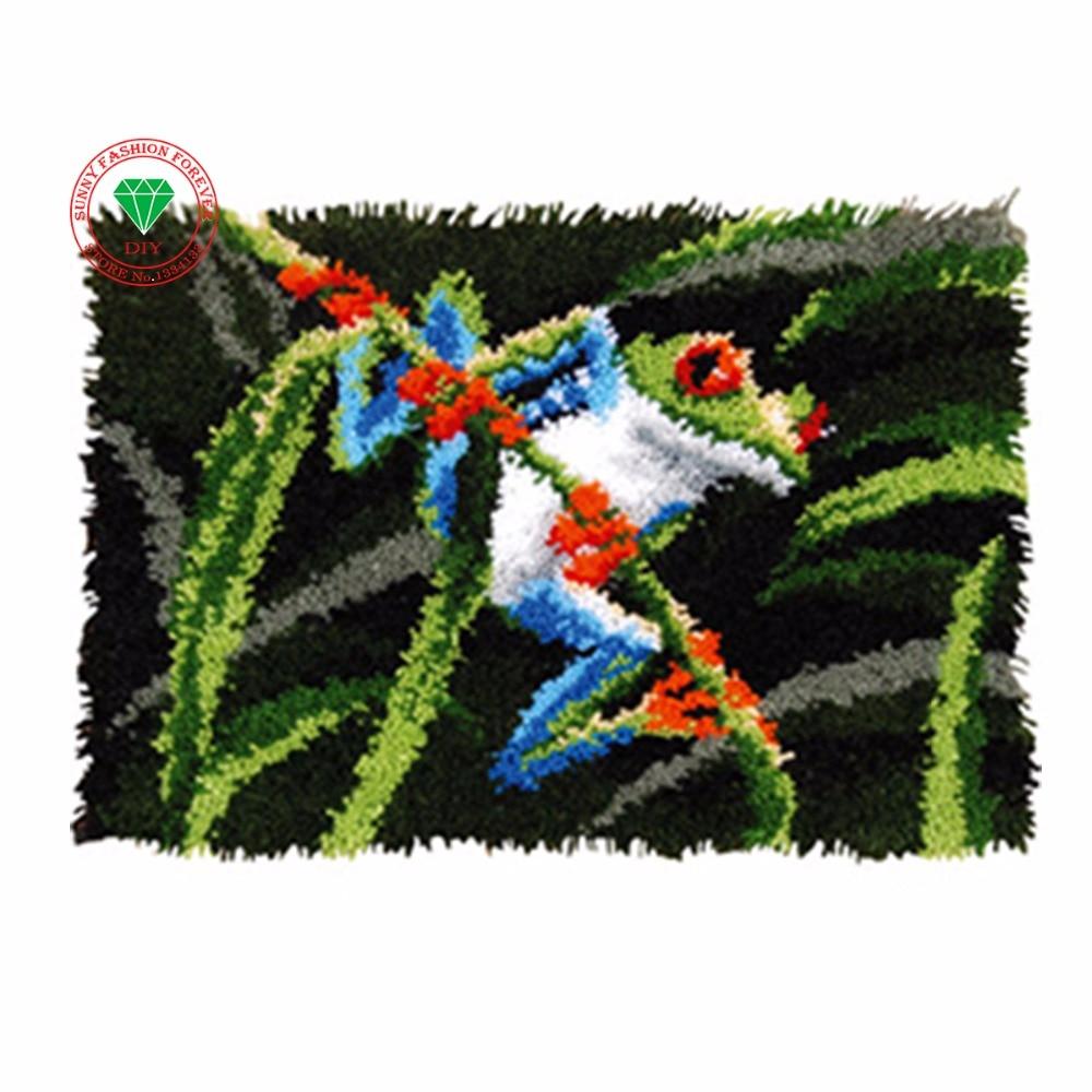 Kit para alfombra de aguja de lengüeta rana de dibujos animados alfombra de retales alfombra de punto de cruz bordado para alfombras cojín de punto de cruz karpet