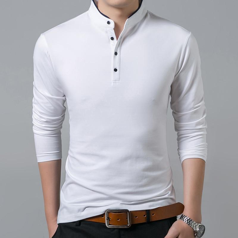 Liseaven T-Shirt Men Cotton T Shirt Full Sleeve tshirt Men Solid Color T-shirts tops&tees Mandarin Collar Long Shirt