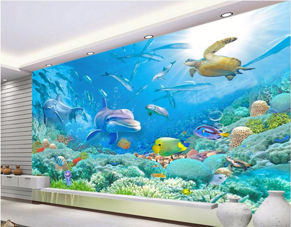 Fondos de pantalla de pared 3d con diseños personalizados, imagen de mar, mundo, coral, peces, paisaje, decoración, pintura, papel tapiz para sala de estar